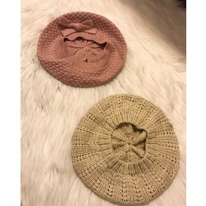 Two F21 Berets (Pink + Beige)